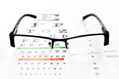 Eyeglasses and chart isolated at white background Stock Photo