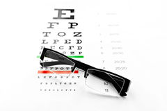 Eyeglasses and chart isolated at white background Royalty Free Stock Photography