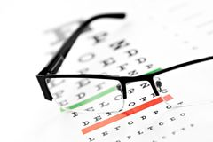 Eyeglasses and chart isolated at white background Royalty Free Stock Photo