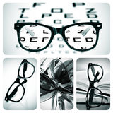 Eyeglasses collage. Collage of some different pictures about optometry and eyeglasses Stock Photos