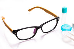 Eyeglasses and contact lens case Royalty Free Stock Image