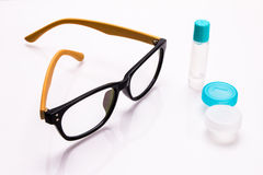 Eyeglasses and contact lens case Royalty Free Stock Photo