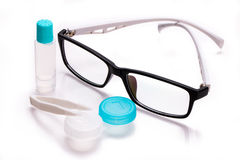 Eyeglasses and contact lens case Stock Photography