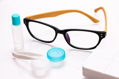 Eyeglasses and contact lens case Stock Images