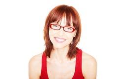 eyeglasses czerwona podkoszulek bez rękawów kobieta zdjęcie stock
