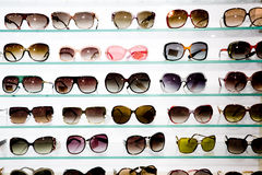 Eyeglasses display shelves Royalty Free Stock Photos