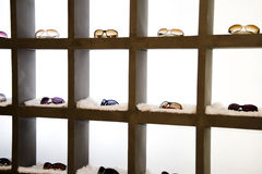 Eyeglasses display shelves Stock Photos