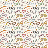 Eyeglasses doodle multicolored vector seamless pattern with flowers. Stock Images
