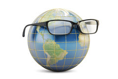 Eyeglasses with Earth globe, 3D rendering Stock Photo