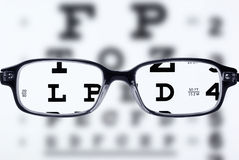 Eyeglasses and eye chart stock images
