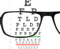 Eyeglasses and eye chart. Eyeglasses with prescription lenses focusing blurred eye chart Royalty Free Stock Photography