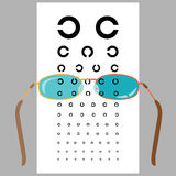 Eyeglasses and eye chart Royalty Free Stock Photos
