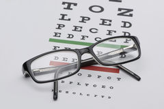 Eyeglasses on Eye Chart Stock Photo