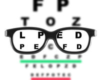 Eyeglasses with eye chart Royalty Free Stock Photo