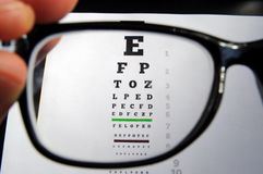 Eyeglasses and eye chart Royalty Free Stock Photos