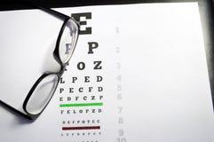 Eyeglasses and eye chart Stock Photo