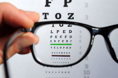 Eyeglasses and eye chart. Eyeglasses on eye chart, a pair of glasses on eye chart Royalty Free Stock Photo