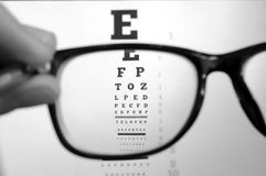 Eyeglasses and eye chart Stock Images
