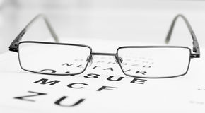Eyeglasses on eye chart Royalty Free Stock Photo