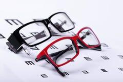 Eyeglasses and eye chart Stock Image