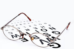 Eyeglasses on a eye exam chart Stock Photo