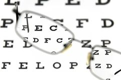 Eyeglasses and eye test chart Stock Photography
