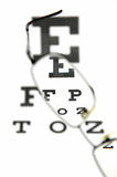 Eyeglasses and eye test chart Stock Images