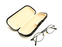 Eyeglasses and eyeglass case Royalty Free Stock Photography