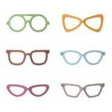 Eyeglasses flat multicolored vector set. Modern minimalistic design. Part three. Royalty Free Stock Photo