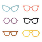 Eyeglasses flat multicolored vector set. Modern simple design. Part two. Royalty Free Stock Photos