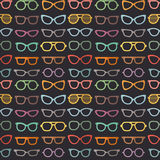 Eyeglasses flat style multicolored vector seamless pattern. Stock Photos