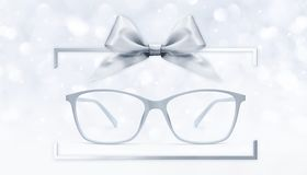 Eyeglasses gift card, grey spectacles and silver ribbon bow in b royalty free illustration