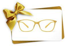 Eyeglasses gift card, spectacles and golden ribbon bow, isolated royalty free stock photos