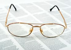 Eyeglasses golden Royalty Free Stock Images