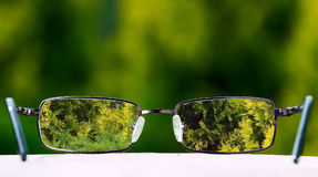 Eyeglasses on green nature background Royalty Free Stock Photo