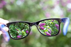 Eyeglasses in the hand over blurred background Stock Photography
