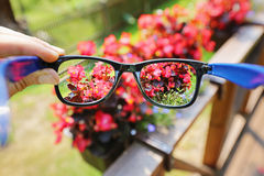 Eyeglasses in the hand over blurred flower background Royalty Free Stock Photo