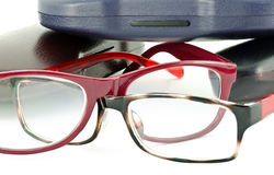 Eyeglasses and hard shell cases Royalty Free Stock Image