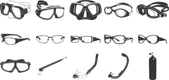 Eyeglasses illustrations. Collection of illustrations various types of eyeglasses and diving equipment Royalty Free Stock Image
