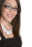 eyeglasses jest ubranym kobiety Obrazy Royalty Free