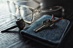 Eyeglasses and key