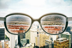 Eyeglasses with landscape view Royalty Free Stock Photography