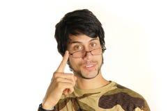 eyeglasses latynoski mężczyzna zdjęcia royalty free