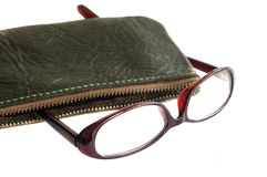 Eyeglasses and leather case Royalty Free Stock Images