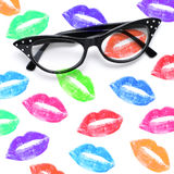 Eyeglasses and lipstick marks Stock Photo