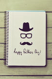Eyeglasses, mustache and text happy fathers day Royalty Free Stock Photo