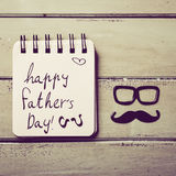 Eyeglasses, mustache and text happy fathers day Stock Image
