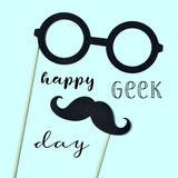 Eyeglasses, mustache and text happy geek pride Stock Photography