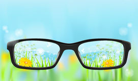 Eyeglasses, natureza no foco Foto de Stock Royalty Free