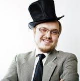 eyeglasses obsługują dziwnego portraite fotografia royalty free